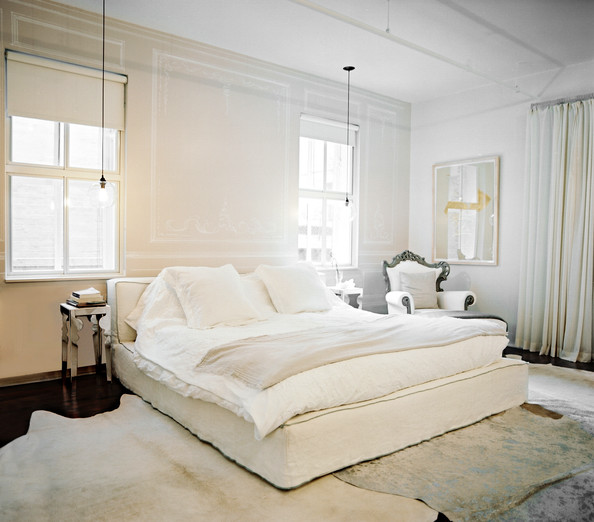 Miegamojo idėjos kreminė spalva