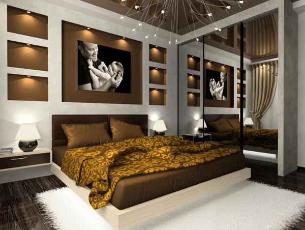 Miegamojo interjeras ruda spalva